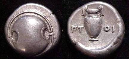 Ancient Coins - Thebes, Boeotia, 371-338 BC. AR Stater