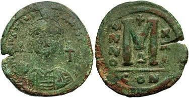 Ancient Coins - Justinian I AD 527-565, AE Follis