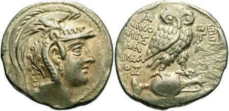 Ancient Coins - Attica, Athens. Circa 18-107 BC. AR New Style Tetradrachm