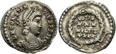 Ancient Coins - Constantius II . 337-361 AD . AR Siliqua