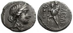 Ancient Coins - Julius Caesar AR Denarius  : Venus / Aeneas Carrying Anchises
