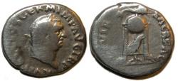 Ancient Coins - Vitellius Denarius : XV VIR SACR FAC : Tripod / Dolphin / Raven