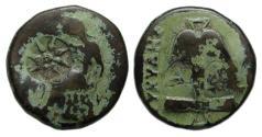 Ancient Coins - Apollonia Pontika Ae : Apollo Seated on Omphalos / Anchor : Scarce Type