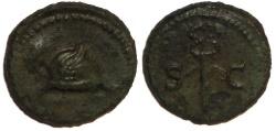 Ancient Coins - Anonymous Quadrans : Winged Petasus / Caduceus