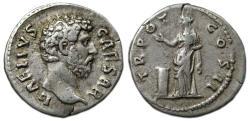 Ancient Coins - Aelius Caesar AR Denarius : TR POT COS II ; Pietas Standing