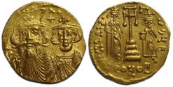 Ancient Coins - Byzantine Gold Solidus; Constans II with Constantine IV, Heraclius, and Tiberius Gold Solidus