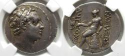 Ancient Coins - Antiochus IV AR Tetradrachm : Apollo on Omphalos