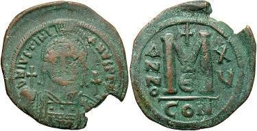 Ancient Coins - Justinian I AD 527-565, Large AE Follis