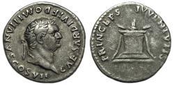 Ancient Coins - Domitian as Caesar AR Denarius : PRINCEPS IVVENTVTIS, Altar