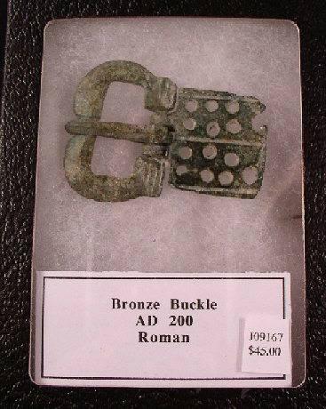 Ancient Coins - Large Roman Bronze Belt Buckle, AD 200
