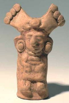 Ancient Coins - Maya figure with Ornate Headdress,