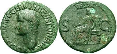 Ancient Coins - Caligula   AD 37-41, AE AS