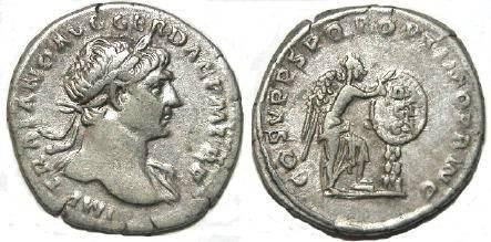 Ancient Coins - Trajan AD 98-117, AR Denarius, Victory inscribing