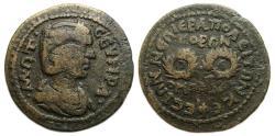 Ancient Coins - Otacilia Severa : Hierapolis Phrygia Ae : Homonoia with Ephesus : Two Wreaths