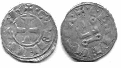 Ancient Coins - Crusaders Silver Billion Denier Tournois AD 1245-1278