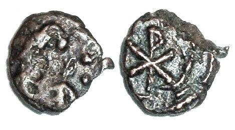 Ancient Coins - Justinian nummus : Christogram