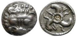Ancient Coins - Vekhssere II, Dynasts of Lycia ; 1/3 AR Stater : Lion's Scalp / Triskeles