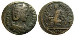 Ancient Coins - Otacilia Severa : Hierapolis Phrygia Ae : Hygieia Enthroned Feeding Serpent