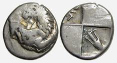 Ancient Coins - Chersonesos Thrace AR Hemidrachm : Forepart of Lion / Pellet - Amphora