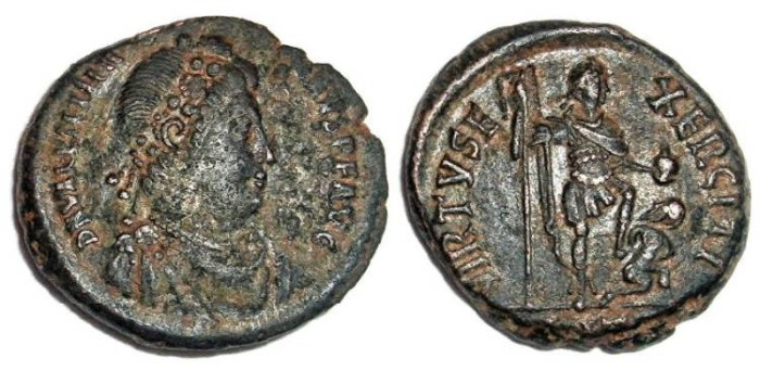Ancient Coins - Valentinian II AE2 : VIRTVS EXERCITI
