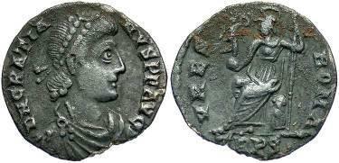 Ancient Coins - Gratian, 367-383 AD. AR Siliqua