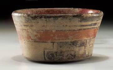 Ancient Coins - Maya tapered bowl, AD 800-1000