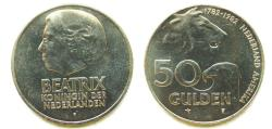 World Coins - Netherlands 1982 50 Gulden Mintage: 49,998
