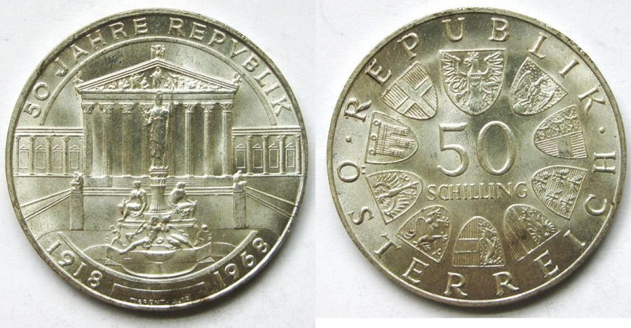 """World Coins - AUSTRIA 1968 50 Shilling  """"50th Anniversity of the Republic""""    Parliament Building in Vienna."""