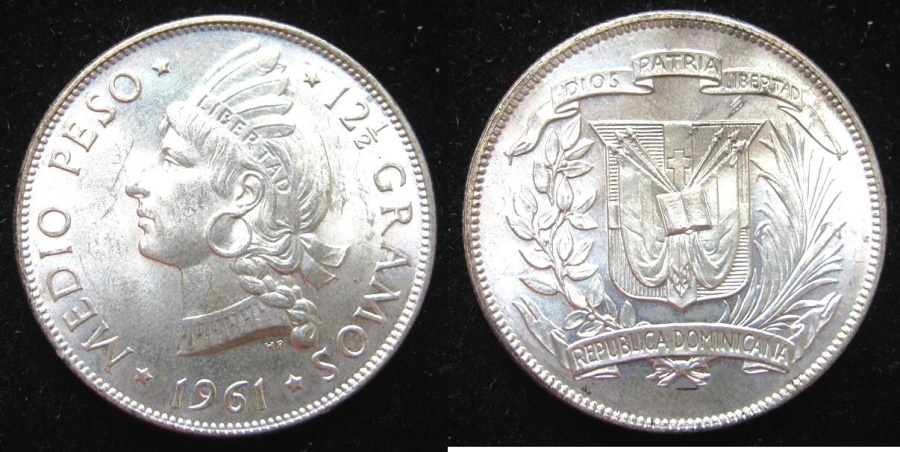 World Coins - DOMINICAN REP 1961 1/2 Peso  National Arms. Rx. Profile of native princess left divides denomination