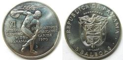 """World Coins - PANAMA 1970  5 Balboas 92.5% Silver 1.0617 ASW  """"one year type--11th Central American and Central Caribbean Games"""""""