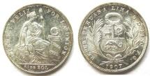 World Coins - PERU  1907-FG  1/5 Sol