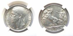"World Coins - Italy 1927 10 Lira NGC-58, KM-68.1 Edge ""FERT"""