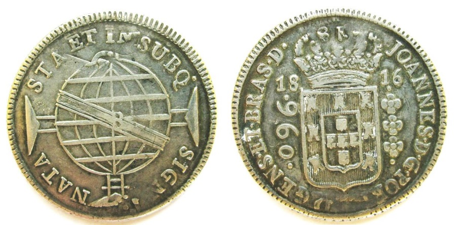 """World Coins - Brazil 1816-B 960 Reis overstruck on """"rare"""" 1814-HJ 8 Reales"""