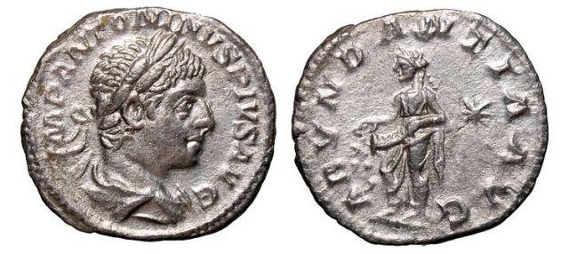 Ancient Coins - ELEGABALUS (AD 218-222) AR Denarius.  His laureate head right.  Rx. bundance standing left emptying cornucopiae.