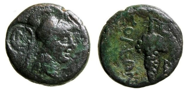 Ancient Coins - CILICIA:  SOLOI, POMPEIOPOLIS   (430-390 BC)   AE-16.  Athena/Bunch of grapes C/M monogram in circle.  aVF