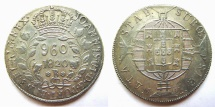 World Coins - Brazil (Bahia mint), 960 reis, Joao VI, 1820-B, struck over a Madrid, Spain, bust 8 reales