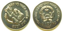 """World Coins - Vietname 1987 10 Dong,  Mintage:  22,000  """"one year type--Wildlife Preservation"""""""