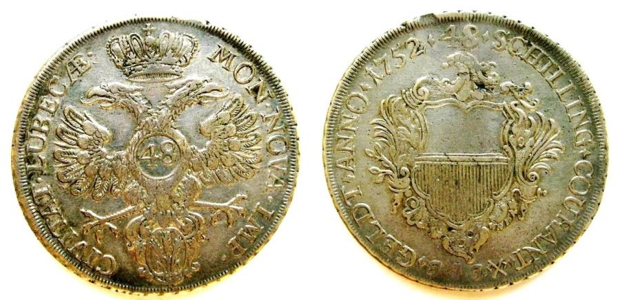 World Coins - Lubeck 1752-JJJ  48 Schillings
