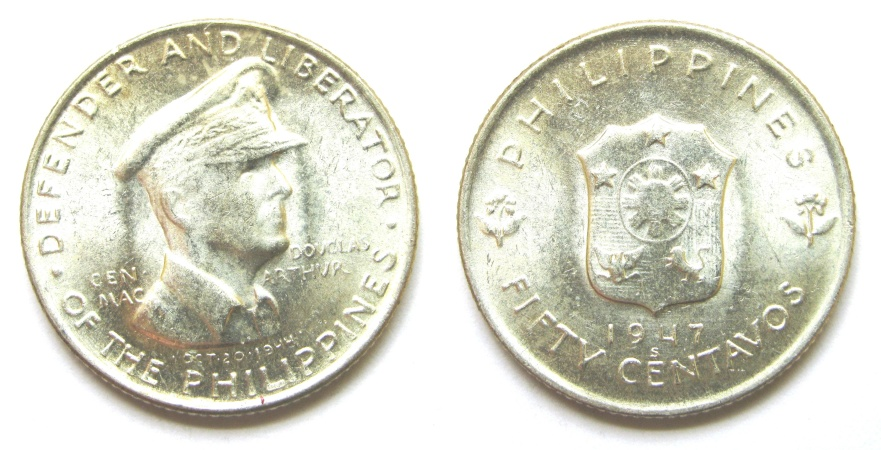 World Coins - PHILIPPINES 1947-S  50 Centavos  BU  KM_184   MacArthur--Defender and Liberator