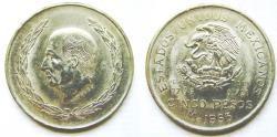 World Coins - Mexico 5 Pesos, 1953, Hildago