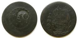 """World Coins - Brazil 1829-B """"Host Date"""" 80 Reis C/M 40 Reis 1835"""