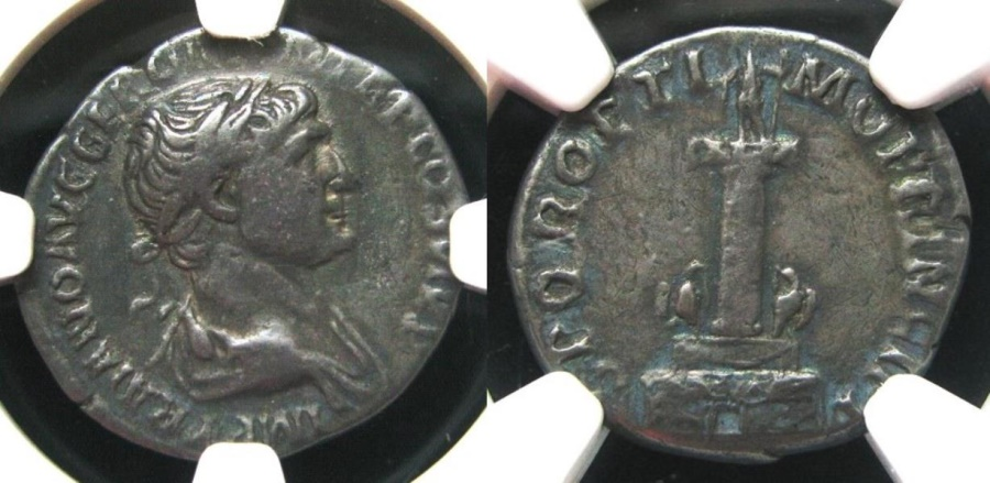 "Ancient Coins - Trajan, AD 98-117 AR Denarius.  NGC-Ch VF.    Rx. Trajan's Column  ""scarce and popular type"""