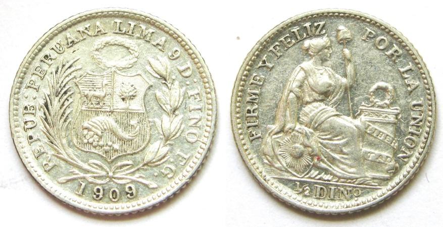 World Coins - PERU 1909 1/2 Dinero  Unc.