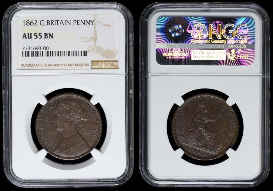 Great Britain 1862 Penny w/o signature on obv