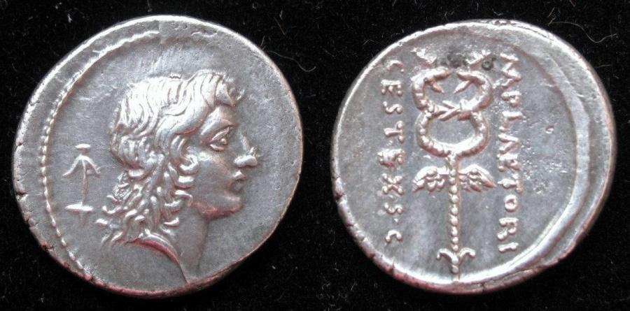 Ancient Coins - M.Pleatorius M.f. Cestianus  69 BC AR Denarius.  Rx. Winged caduceus.