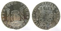 Mexico, 8 Reales, Philip V, 1738-MF, from REIJGERSDAAL off South Africa