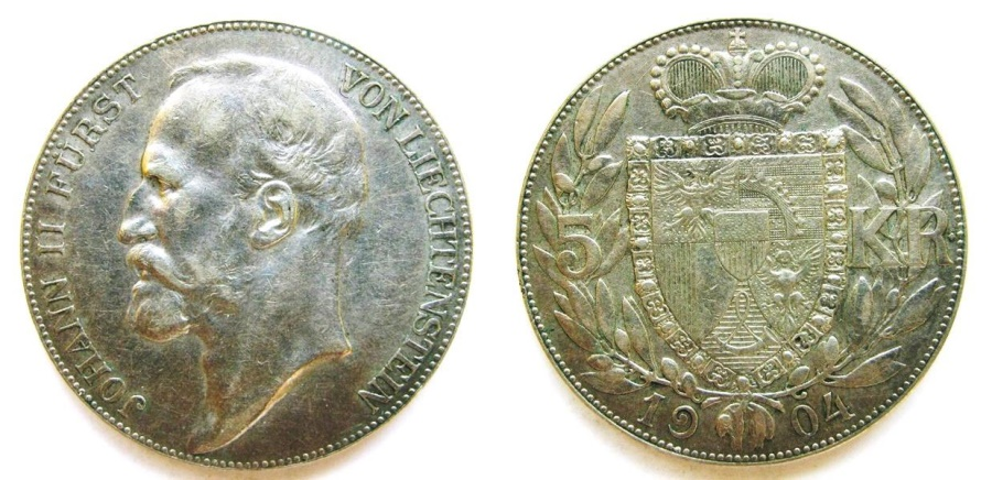 "World Coins - Liechtenstein 1904 5 Kronen  ""Scarce Mintage: 15,000"""
