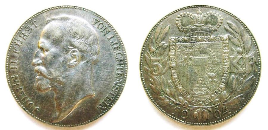 """World Coins - Liechtenstein 1904 5 Kronen  """"Scarce Mintage: 15,000"""""""