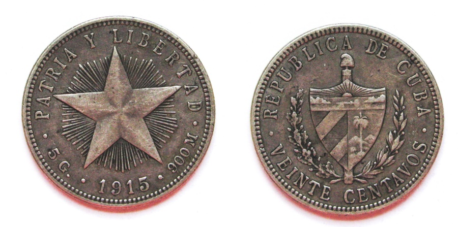 """World Coins - CUBA 1915 20 Centavos  """"one year type--High Relief, Fine reeded edge."""
