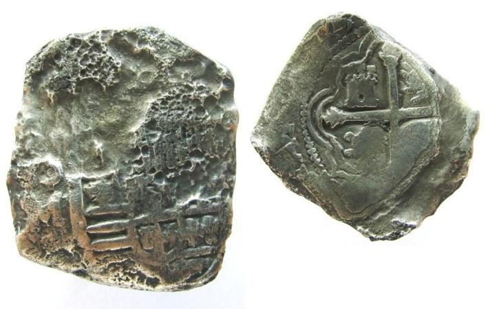 World Coins - Mexico Spanish Treasure Coin, 8 Reales coin, from 1641 CONCEPCION shipwreck